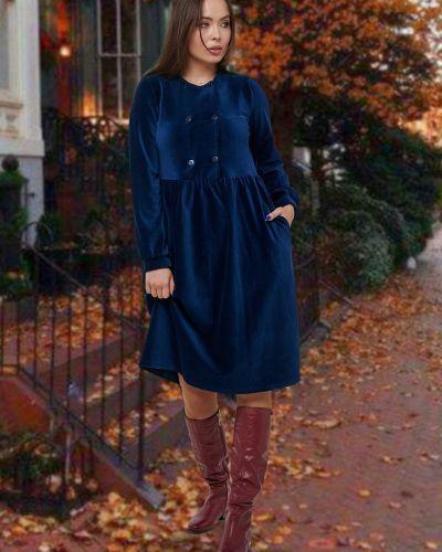 Платье на пуговицах вельветовое свободного кроя с вырезом Mix-mode