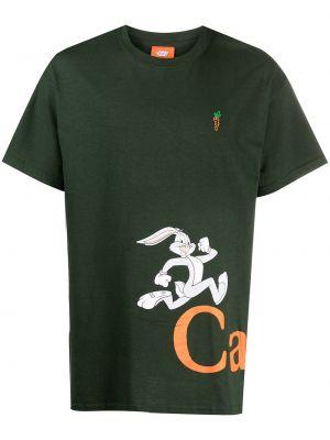 Zielony t-shirt z haftem krótki rękaw Carrots