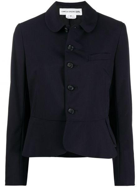 Шерстяной однобортный синий классический пиджак Comme Des Garçons Girl