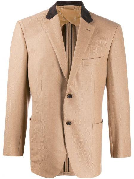 Шерстяной пиджак - коричневый Brioni