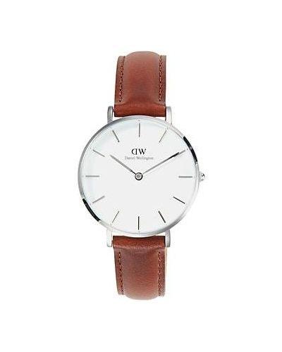 Biały klasyczny zegarek na skórzanym pasku srebrny Daniel Wellington