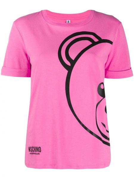 Różowy t-shirt bawełniany krótki rękaw Moschino Underwear