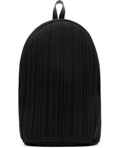 Czarny plecak skórzany z siateczką Pleats Please Issey Miyake