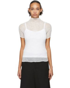 Блузка с коротким рукавом с воротником-стойкой белая Issey Miyake