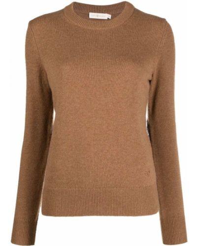 Kaszmir sweter z okrągłym dekoltem z długimi rękawami okrągły dekolt Tory Burch