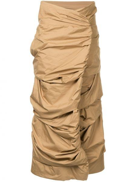 Коричневая юбка винтажная Issey Miyake Pre-owned
