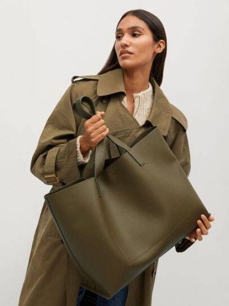 Хлопковая зеленая сумка шоппер на крючках Mango
