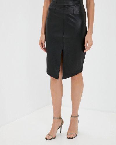 Кожаная черная юбка Love Republic