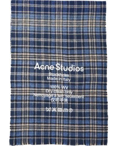 Beżowy szalik wełniany w kratę Acne Studios