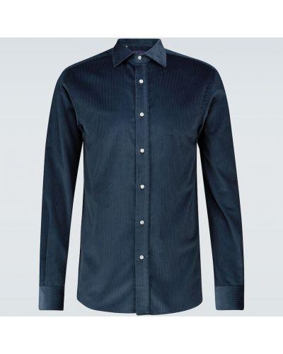 Хлопковая синяя классическая рубашка на кнопках Ralph Lauren Purple Label