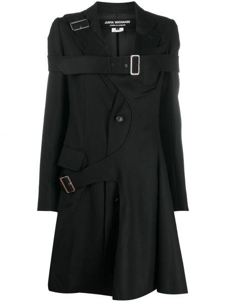 Шерстяное черное длинное пальто на пуговицах Junya Watanabe