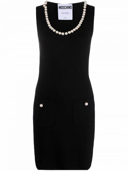 Черное трикотажное платье Moschino