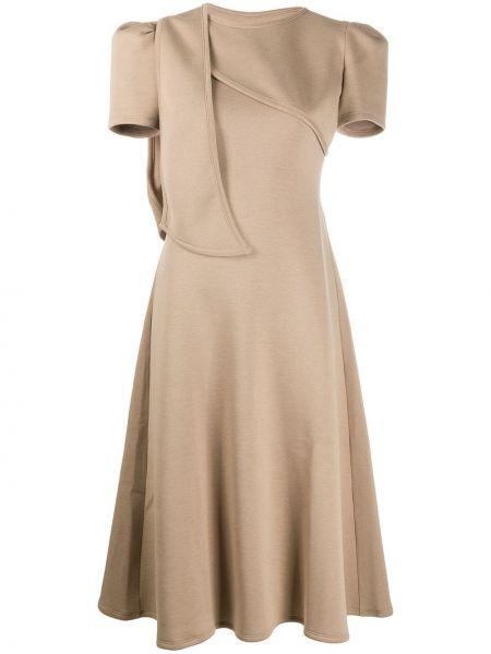 Коричневое с рукавами платье мини с вырезом Beaufille