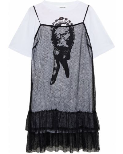 Трикотажное кружевное белое платье мини Mcq Alexander Mcqueen