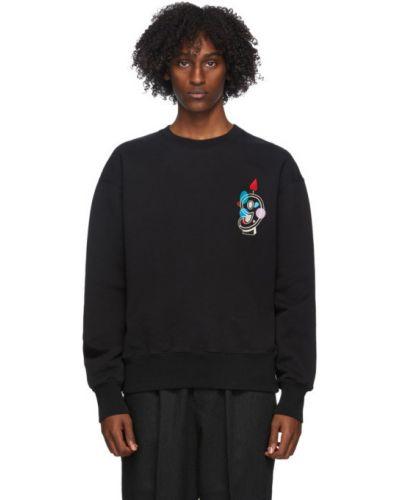 Czarny frotte bluza z haftem z kołnierzem Ami Alexandre Mattiussi