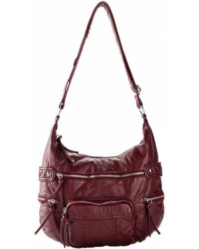 Кожаная с ремешком красная сумка через плечо на молнии Bonprix
