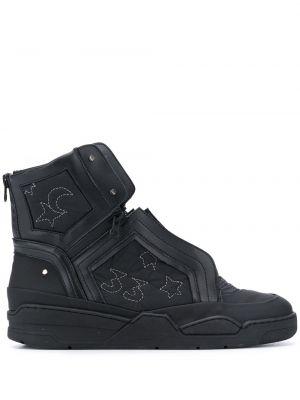 Czarne sneakersy sznurowane koronkowe Swear
