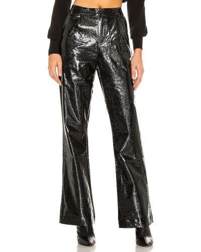 Spodnie palazzo wytłoczony w połowie kolana z prawdziwej skóry z kieszeniami Kendall + Kylie