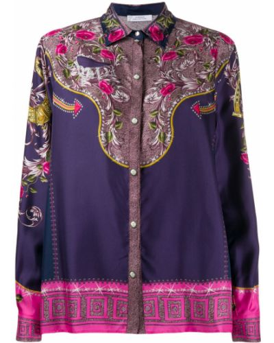 Синяя рубашка с воротником Versace Collection