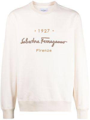Beżowa bluza z długimi rękawami skórzana Salvatore Ferragamo
