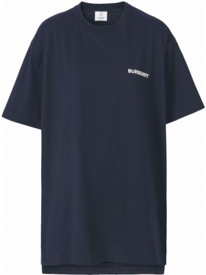 Niebieska T-shirt z nadrukiem bawełniana Burberry
