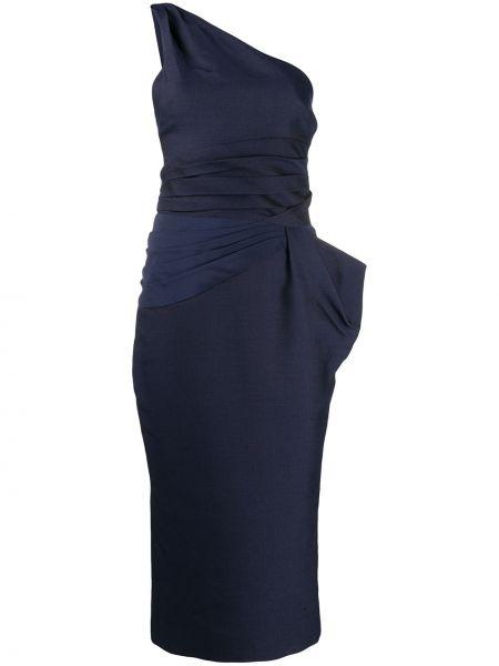 Темно-синее приталенное платье с открытой спиной с драпировкой Versace Pre-owned