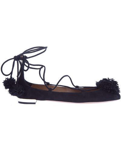 Балетки на каблуке замшевые Aquazzura