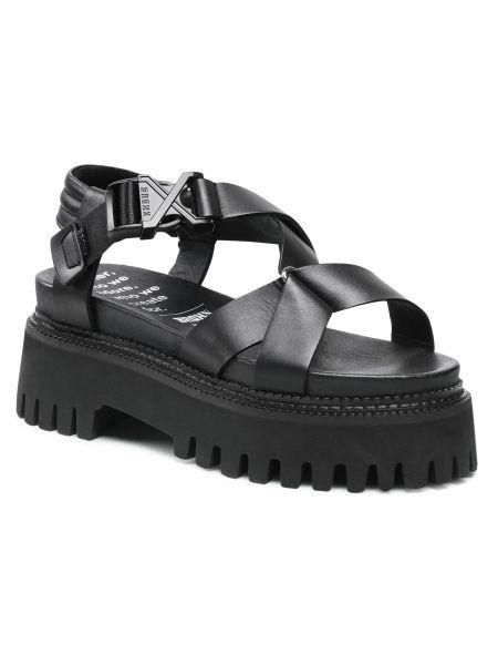 Sandały skórzane - czarne Bronx