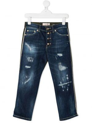 Хлопковые классические зеленые джинсы классические с карманами Dondup Kids