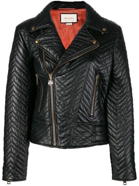 Черная кожаная куртка байкерская на молнии с манжетами Gucci