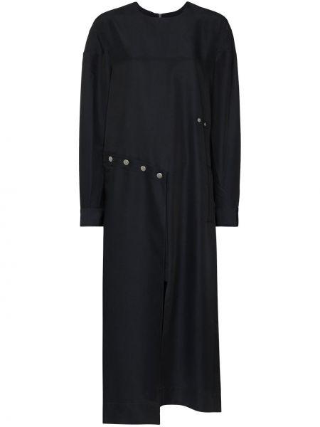 Czarny asymetryczny sukienka midi okrągły dekolt okrągły Tibi