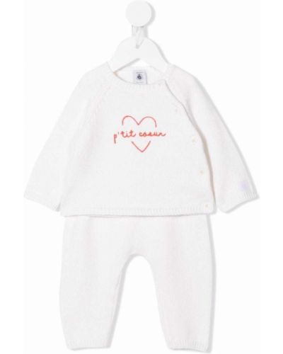 Biały dres prążkowany Petit Bateau