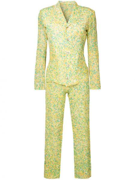 Zielony garnitur z jedwabiu z printem Yohji Yamamoto Pre-owned