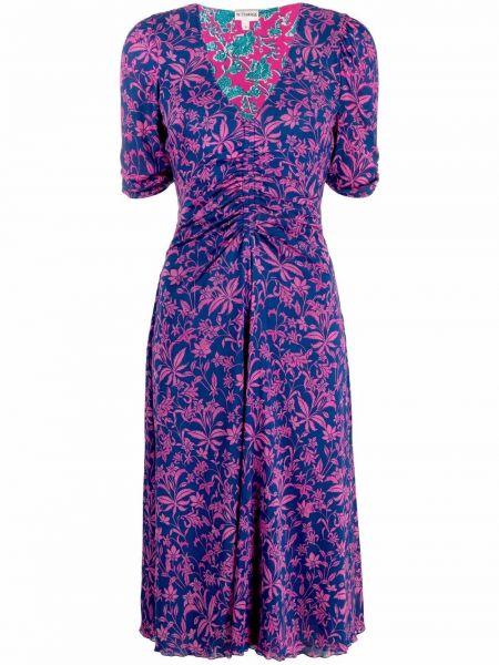 Różowa sukienka z dekoltem w serek Dvf Diane Von Furstenberg