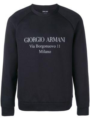 Niebieska bluza z długimi rękawami bawełniana Giorgio Armani