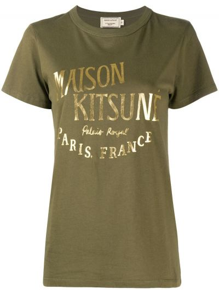 Зеленая хлопковая футболка с круглым вырезом с короткими рукавами Maison Kitsuné