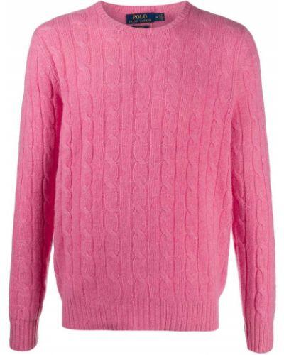 Kaszmir różowy koszulka polo z długimi rękawami z mankietami Polo Ralph Lauren