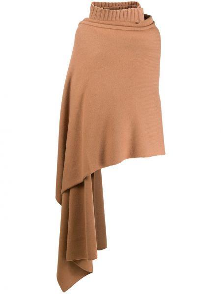 Wełniany brązowy trykotowy szalik z draperią Joseph