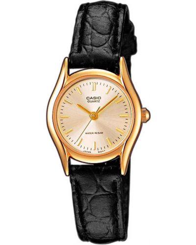 Водонепроницаемые часы на кожаном ремешке с круглым циферблатом Casio
