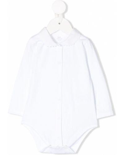 Белое с рукавами боди на кнопках Knot