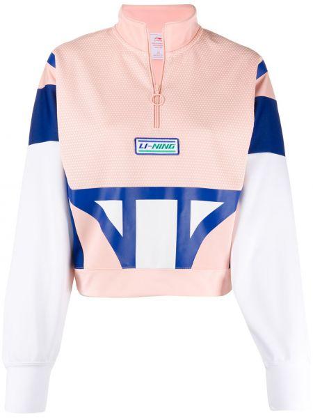 Розовый топ с вышивкой с круглым вырезом на молнии Li-ning