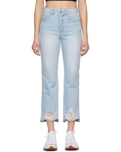 Niebieskie jeansy z paskiem srebrne Sjyp