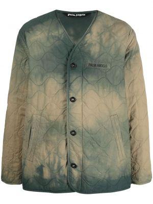 Zielona długa kurtka z haftem bawełniana Palm Angels