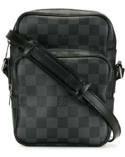 Серая кожаная сумка через плечо на молнии Louis Vuitton