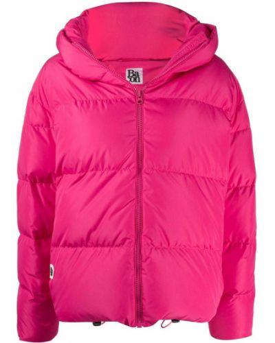 Розовая длинная куртка с капюшоном из альпаки Avant Toi