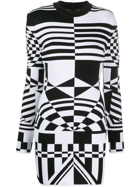 Приталенное черное платье мини из вискозы Balmain