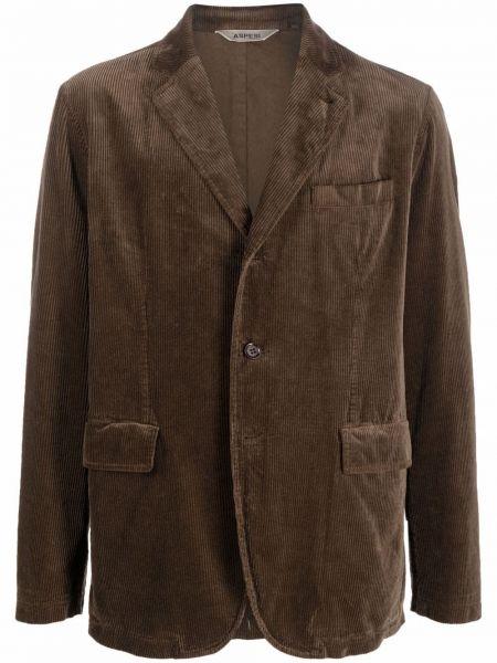 Коричневый хлопковый пиджак Aspesi