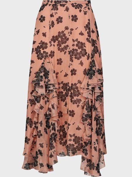 Розовая шелковая юбка на молнии Rochas