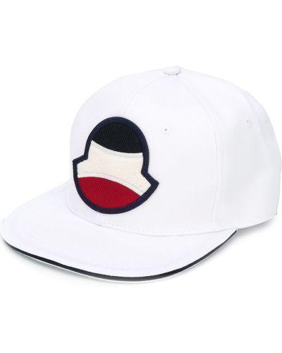 Bawełna biały czapka z daszkiem z łatami okrągły Moncler
