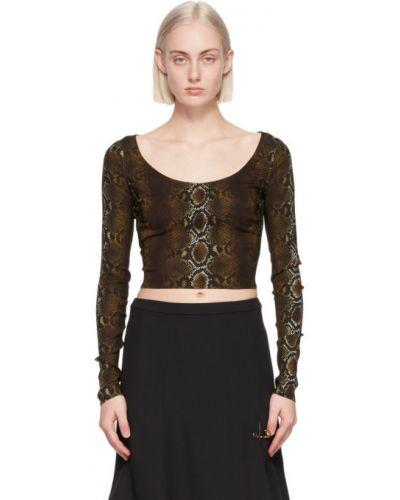 Черная футболка с длинными рукавами с воротником Versace